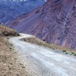Winding dirt road.