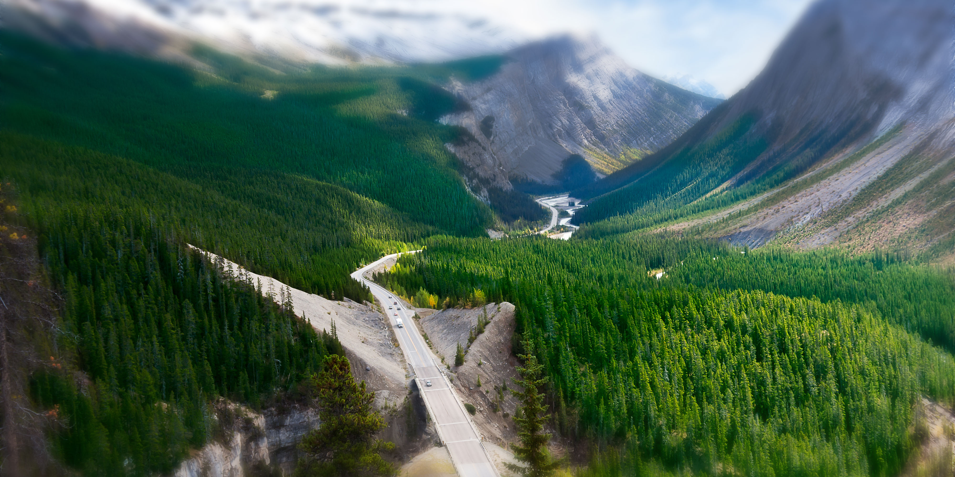 A highway through mountains.